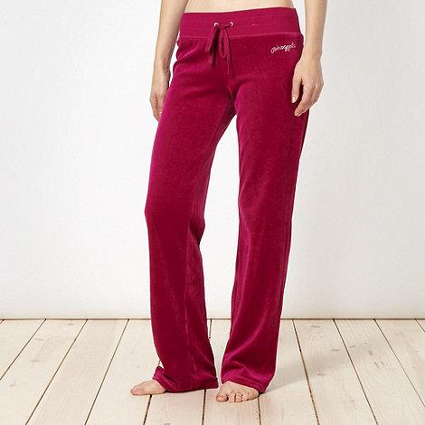 Pineapple - Dark pink velour jogging bottoms