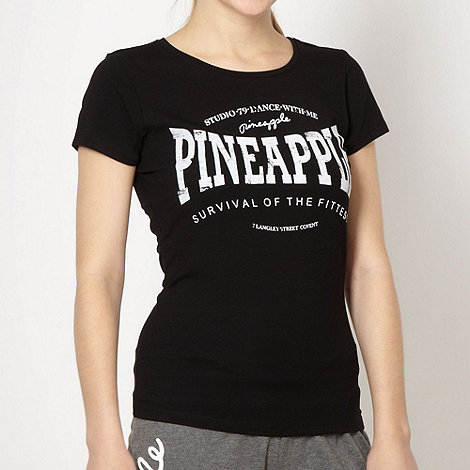 Pineapple - Pineapple black velour logo t-shirt