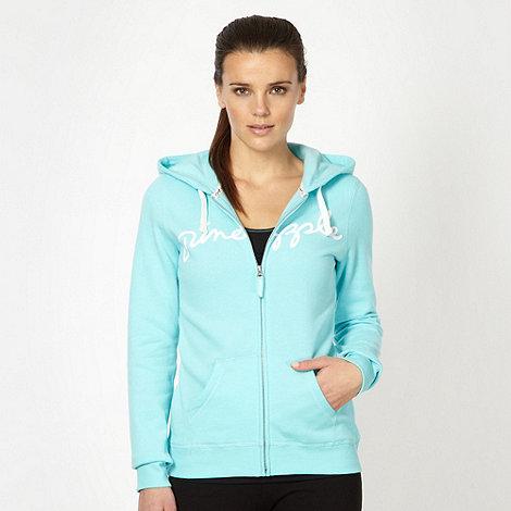 Pineapple - Turquoise logo print zip hoodie
