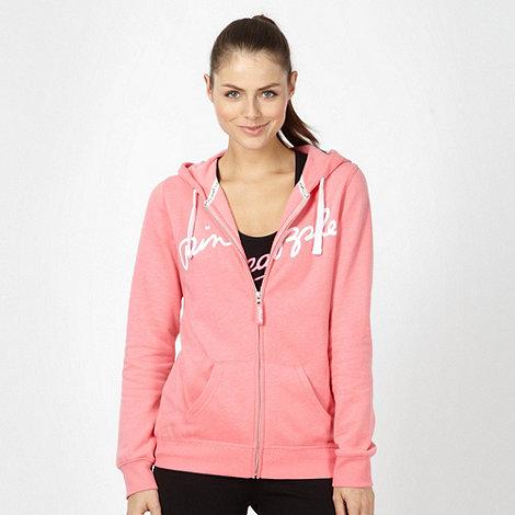Pineapple - Pink flocked logo zip through hoodie