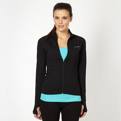 Pineapple - Black funnel neck zip through top