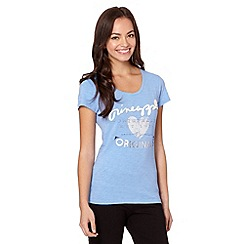 Pineapple - Light blue logo applique heart top