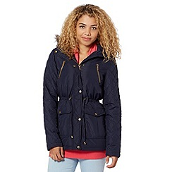 Pineapple - Navy quilted panel parka jacket
