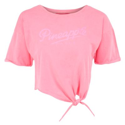 Neon Pink Logo Cropped Top