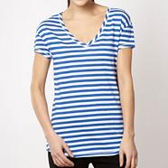 Pineapple bright blue striped dipped hem t-shirt