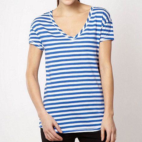 Pineapple - Pineapple bright blue striped dipped hem t-shirt