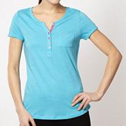 Pineapple turquoise boat neck t-shirt