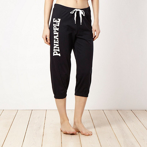 Pineapple - Pineapple black cropped jogging bottoms