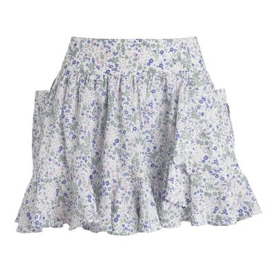 Red Herring White ditsy floral frill hem skirt