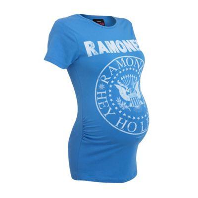 Maternity blue Ramones logo t-shirt