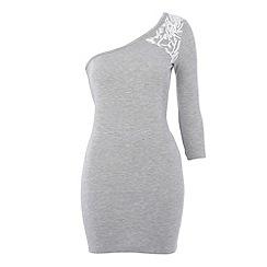 Red Herring Maternity - Maternity grey one shoulder lace detail top