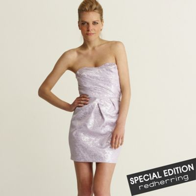 Red Herring Special Edition Lilac shiny jacquard dress product image