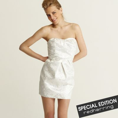 Red Herring Special Edition Cream shiny jacquard dress product image