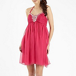 Red Herring - Dark pink embellished babydoll dress