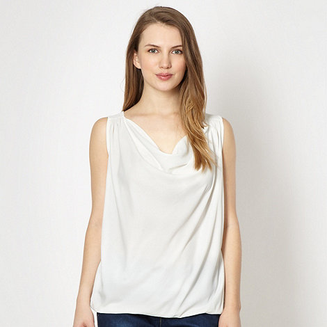 Red Herring - Ivory woven cowl neck top
