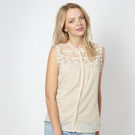 Red Herring - Beige embroidered lace blouse