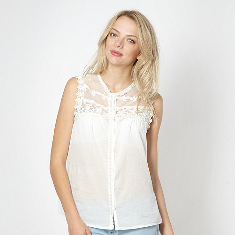 Red Herring - Cream embroidered lace blouse