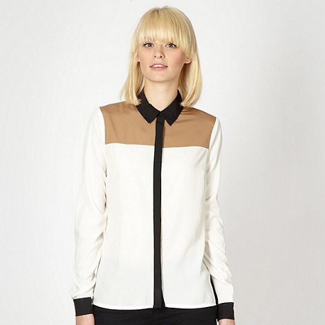Red Herring - Ivory colour block shirt