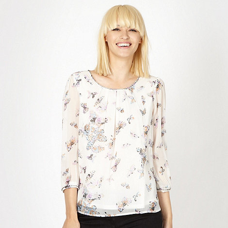 Red Herring - White butterfly print top