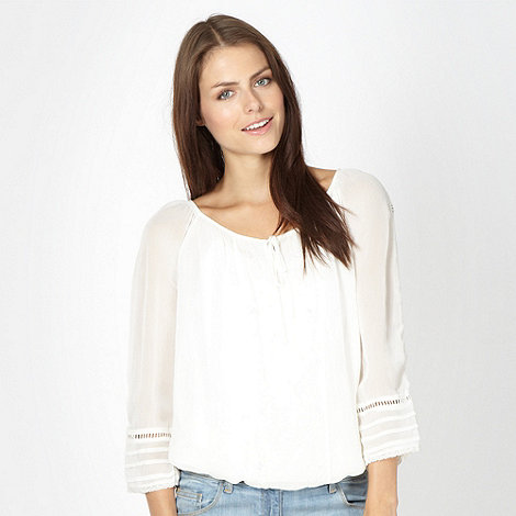 Red Herring - Ivory bead embellished top