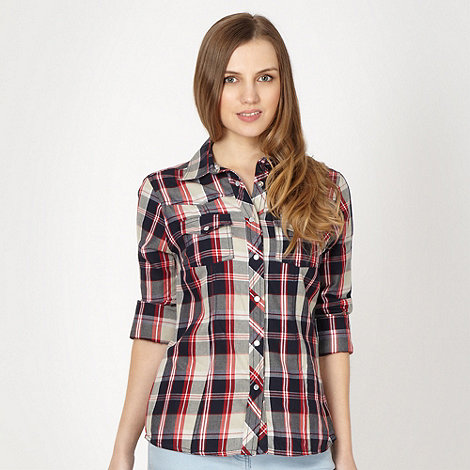 Red Herring - Navy checked twill shirt