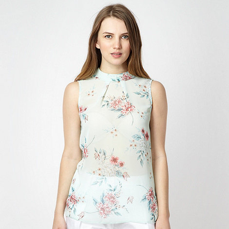 Red Herring - Aqua oriental floral shell top