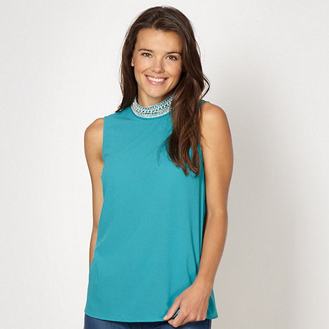 Red Herring - Turquoise embellished neck shell top