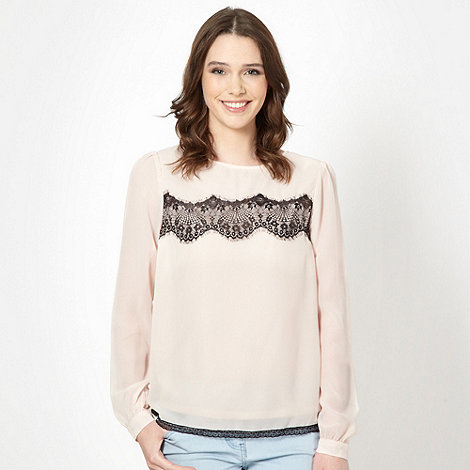Red Herring - Light pink lace insert top