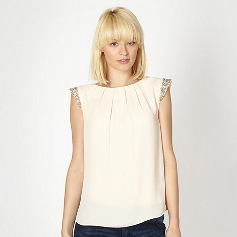 Red Herring - Peach embellished sleeve shell top