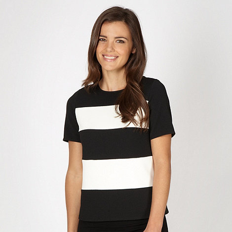 Red Herring - Black striped textured jersey top