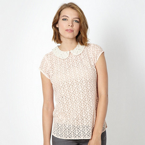 Red Herring - Pale pink lace top
