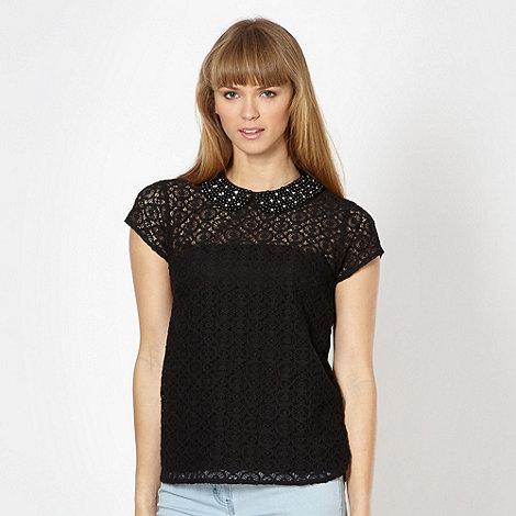 Red Herring - Black lace beaded embellished top