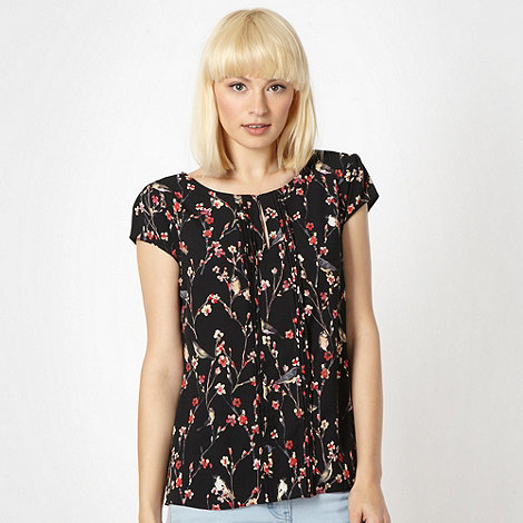 Red Herring - Black bird print chiffon blouse