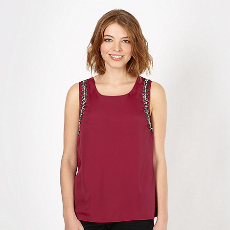 Red Herring - Wine embellished shoulder vest