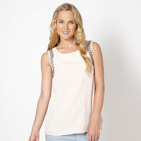 Red Herring - Pale pink embellished trim vest