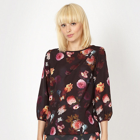 Red Herring - Black flower and butterfly blouse