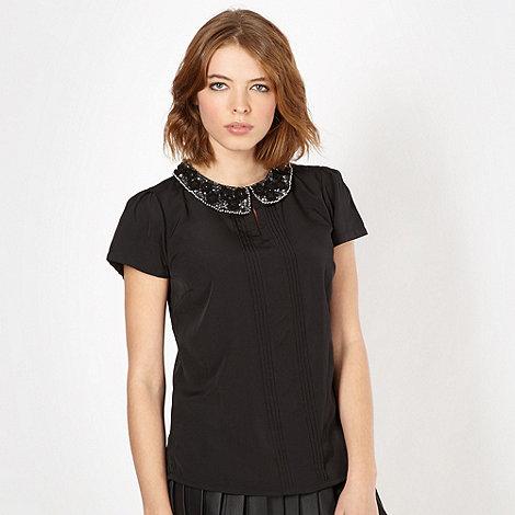 Red Herring - Black floral collar top