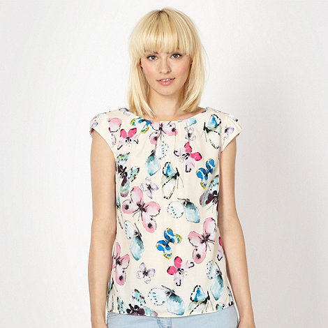 Red Herring - Ivory butterfly cut out back shell top