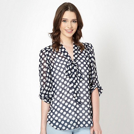 Red Herring - Navy spotted chiffon blouse