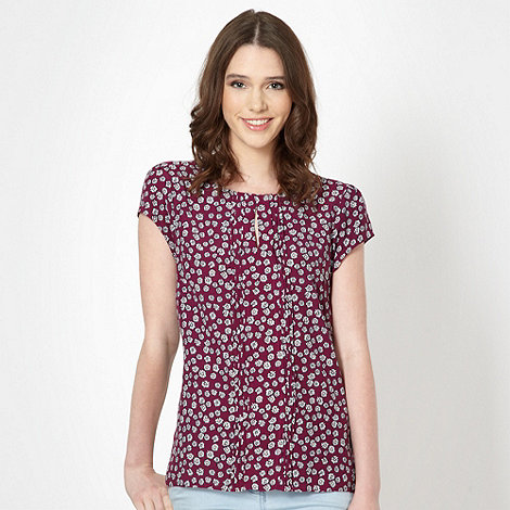 Red Herring - Purple daisy pintucked top