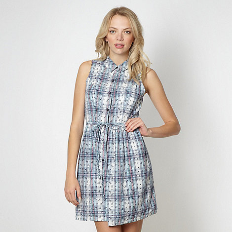 Red Herring - Blue floral checked shirt dress