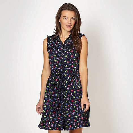 Red Herring - Navy floral shirt dress