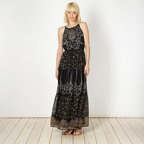 Red Herring - Black mixed tribal print maxi dress