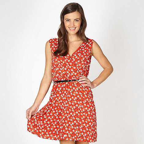 Red Herring - Red floral belted dress