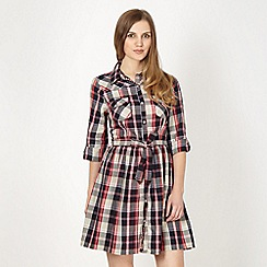 Red Herring - Navy check shirt dress