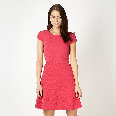 Red Herring - Pink textured jersey skater dress
