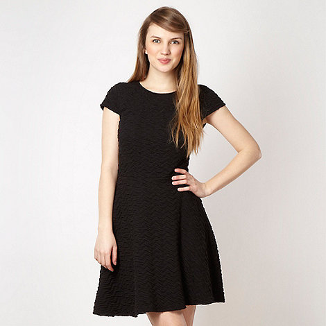 Red Herring - Black textured jersey skater dress