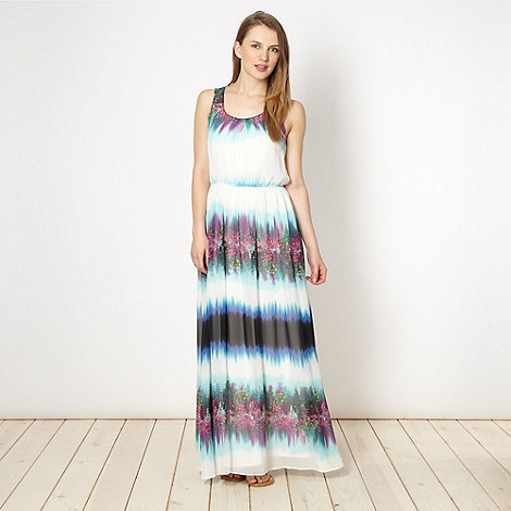 Red Herring - Ivory tie dyed floral maxi dress
