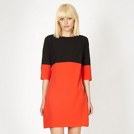 Red Herring - Black colour block crepe dress