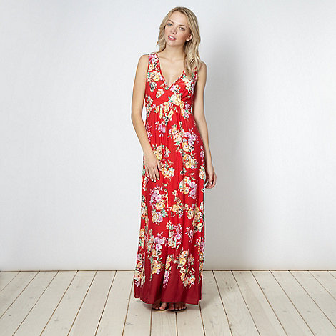 Red Herring - Red oriental floral maxi dress